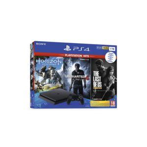 Конзола Sony PS4 1TB SLIM + 3 игри (HZD/TLOU/UC4)