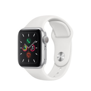 Смарт часовник Apple Watch 5 40mm Silver/White Sport Band mwv62