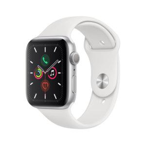 Смарт часовник Apple Watch 5 44mm Silver/White Sport Band mwvd2