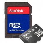 Карта памет SanDisk MICRO SD 8 GB + SD ADAPTER SDSDQB-008G-B