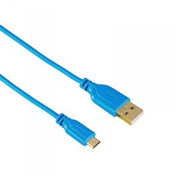 Кабел Hama 135701 FLEXI-SLIM BLUE USB-MICROUSB 0.75