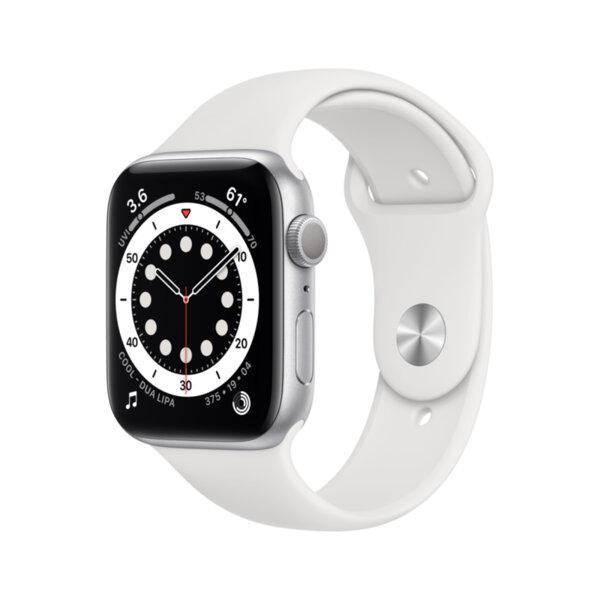 Смарт часовник Apple Watch 6 44mm Silver/White Sport Band m00d3 , 1 , 1.73 , 32 , Apple S6 64-bit Dual Core