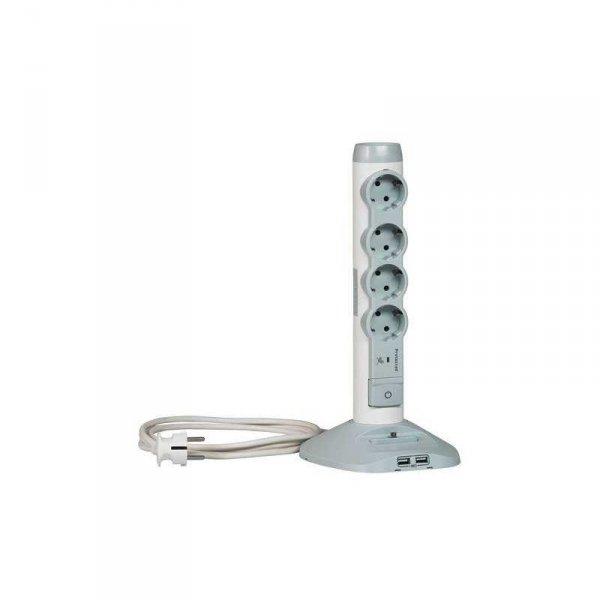 Разклонител Legrand 694614 4 ГНЕЗДА + 2 USB + ЗАЩИТА