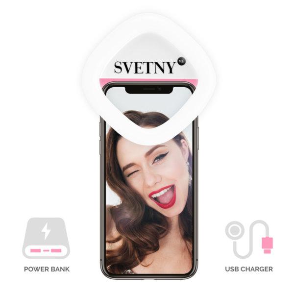 Розов Селфи Ринг с Огледало и Външна Батерия