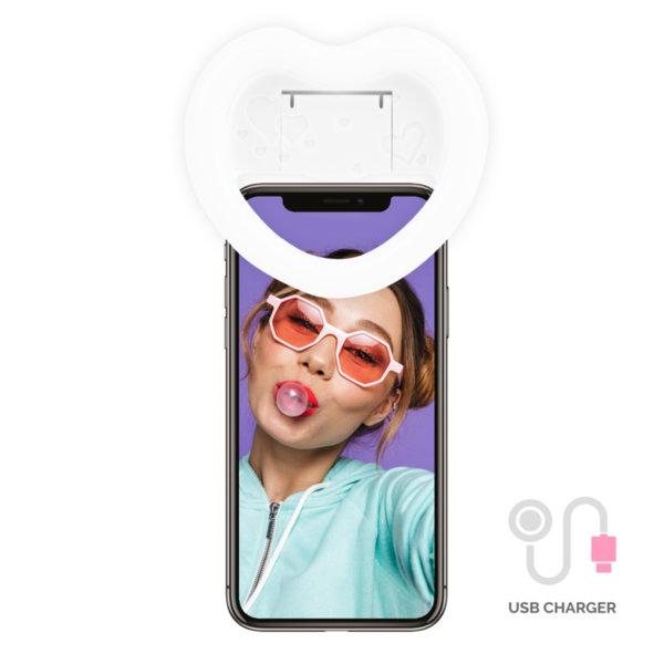 Бял Селфи Ринг Сърце с Огледало и USB зарядно
