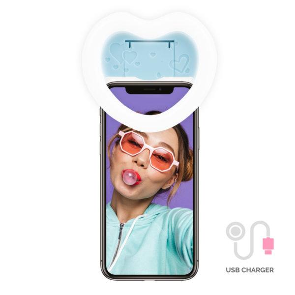 Син Селфи Ринг Сърце с Огледало и USB зарядно