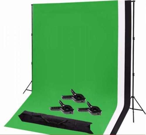 Комплект заден фон за фото студио + 3 цвята платна