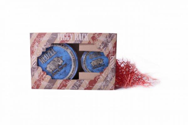 Комплект 1+1 БОНУС - водоразтворима помада за коса, със силна фиксация и лек блясък  - Reuzel Blue Piggy Back Set
