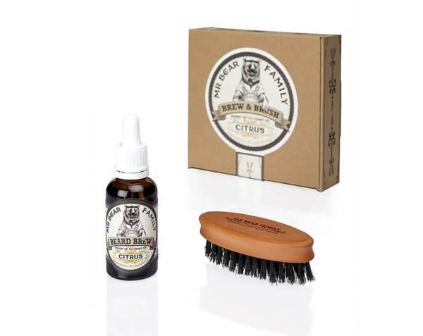 Комплект четка и масло за брада - Mr.Bear Family Brew & Brush Citrus