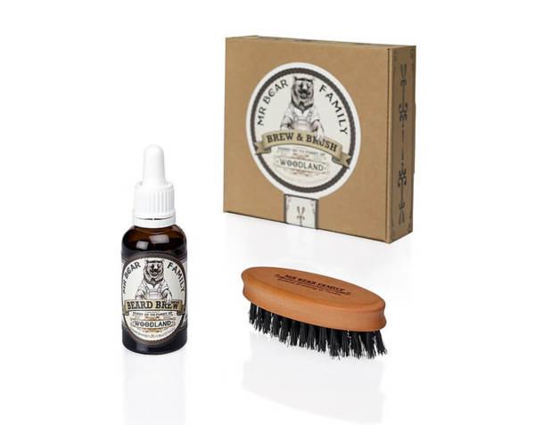 Комлект четка и масло за брада - Mr.Bear Family Brew & Brush Woodland