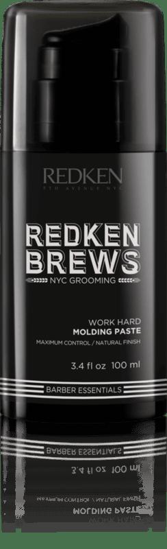 Redken Brews Work Hard Molding Paste е моделираща паста с богата текстура, придаваща естествен завършек. Отлична за прически, които се нуждаят от текстура и фиксация.  Максимална фиксация, ес