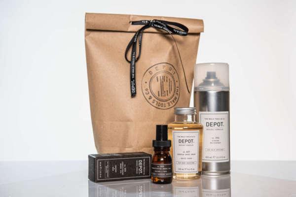Подаръчен ПРОМО сет Depot масло за брада, душ-гел за тяло и спрей за коса