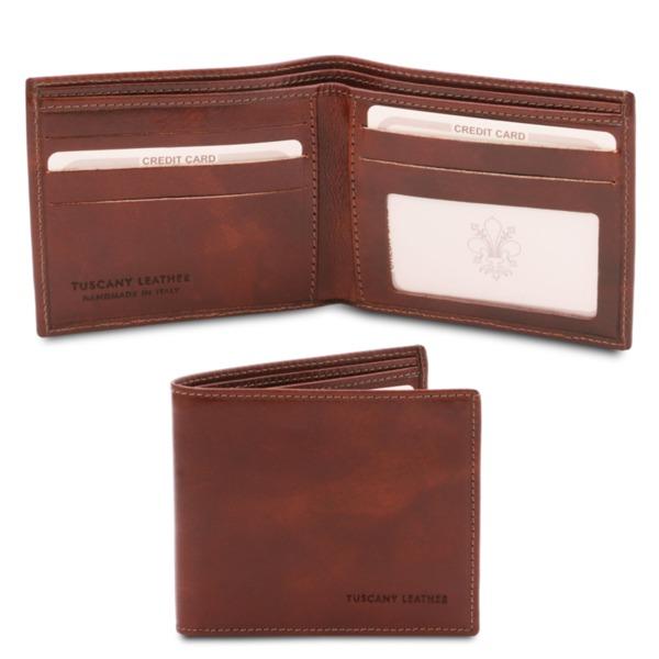 Италиански мъжки портфейл от естествена коже TL142056