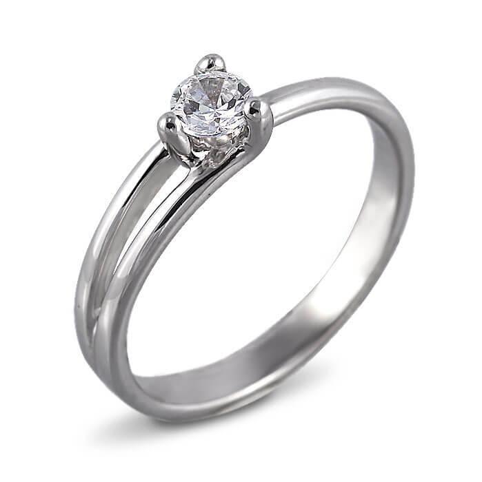 Годежен пръстен бяло злато с диамант 0.25 ct.