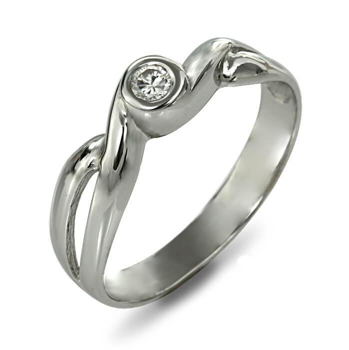 Годежен пръстен бяло злато с диамант 0.08 ct.