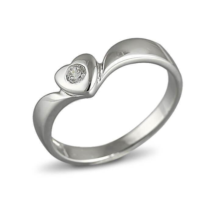 Годежен пръстен бяло злато с диамант 0.06 ct.
