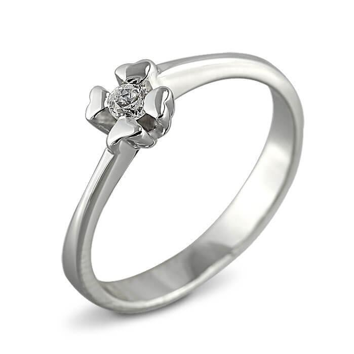 Годежен пръстен бяло злато с диамант 0.10 ct.