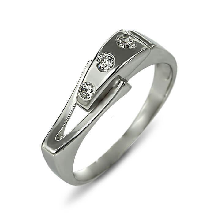 Годежен пръстен бяло злато с диамант 0.045 tcw