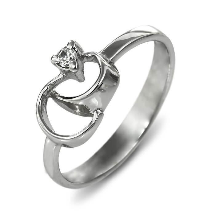 Годежен пръстен бяло злато с диамант 0.03 ct.