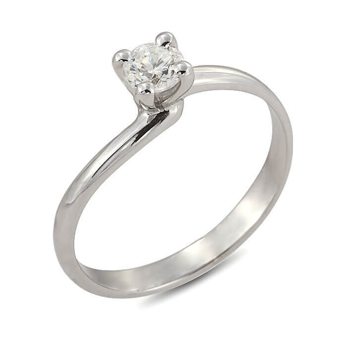 Годежен пръстен бяло злато с диамант 0.33 ct.