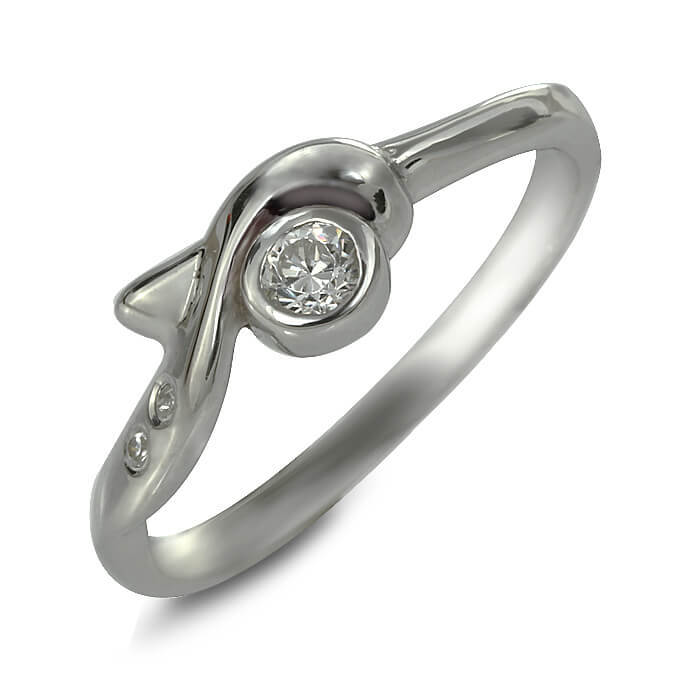 Годежен пръстен бяло злато с диамант 0.08 tcw