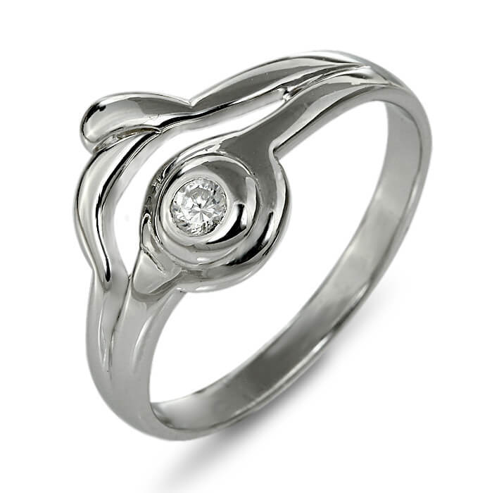 Годежен пръстен бяло злато с диамант 0.05 ct.