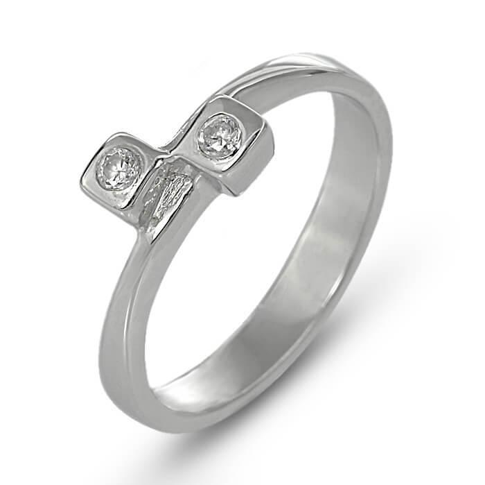 Годежен пръстен бяло злато с диамант 0.06 tcw