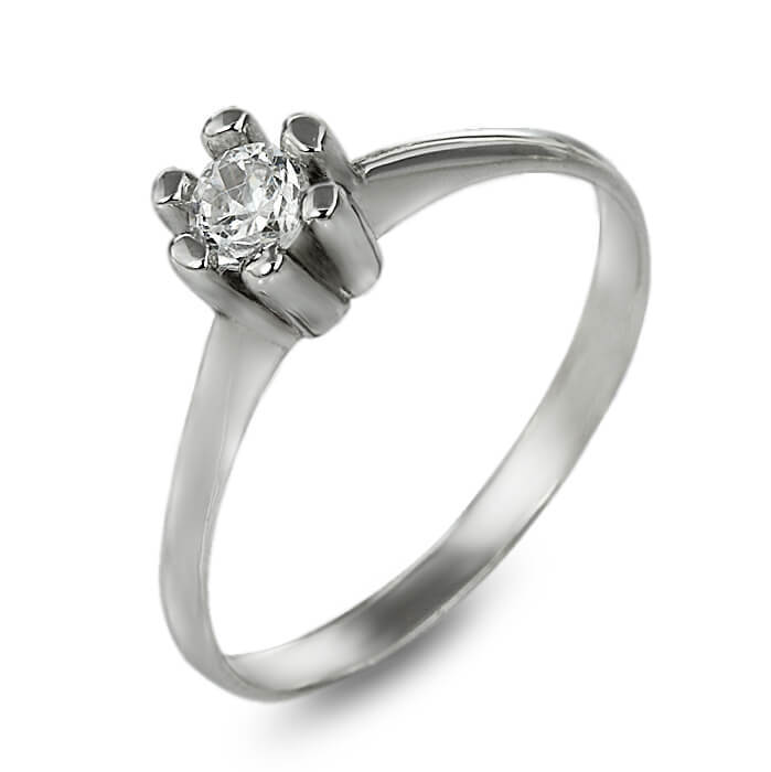 Годежен пръстен бяло злато с диамант 0.15 ct.
