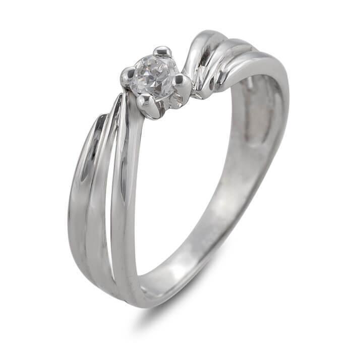Годежен пръстен бяло злато с диамант 0.16 ct.