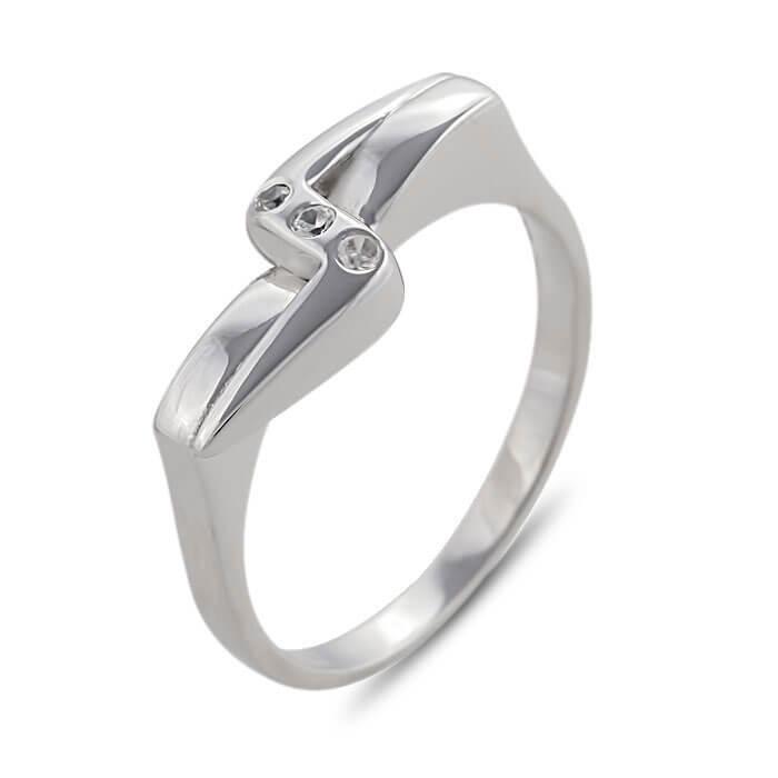 Годежен пръстен бяло злато с диаманти 0.045 tcw