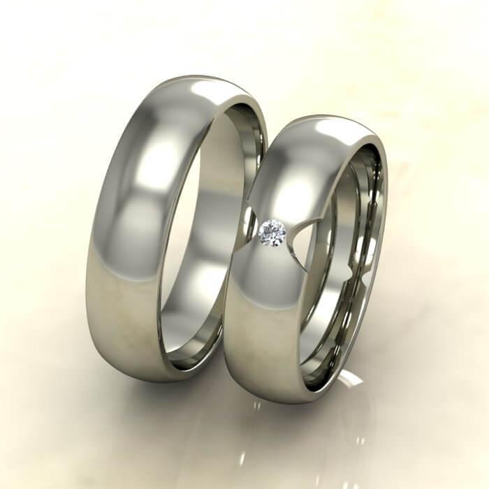 Класически брачни халки бяло злато с диамант