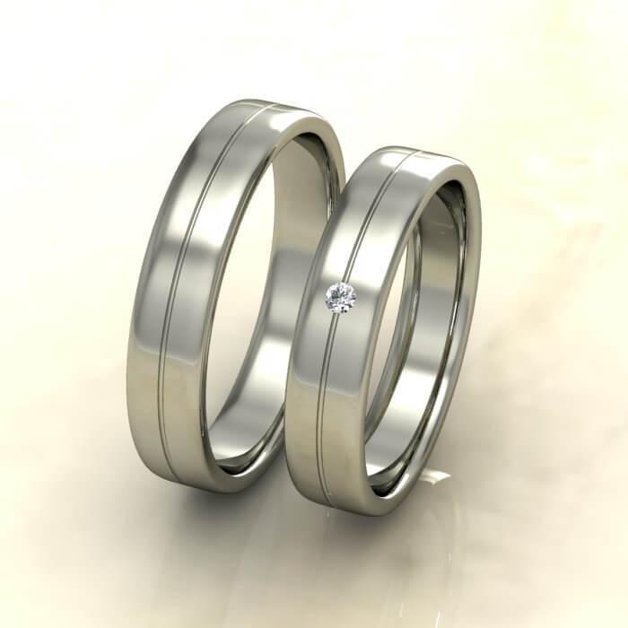 Плоски брачни халки бяло злато с диамант