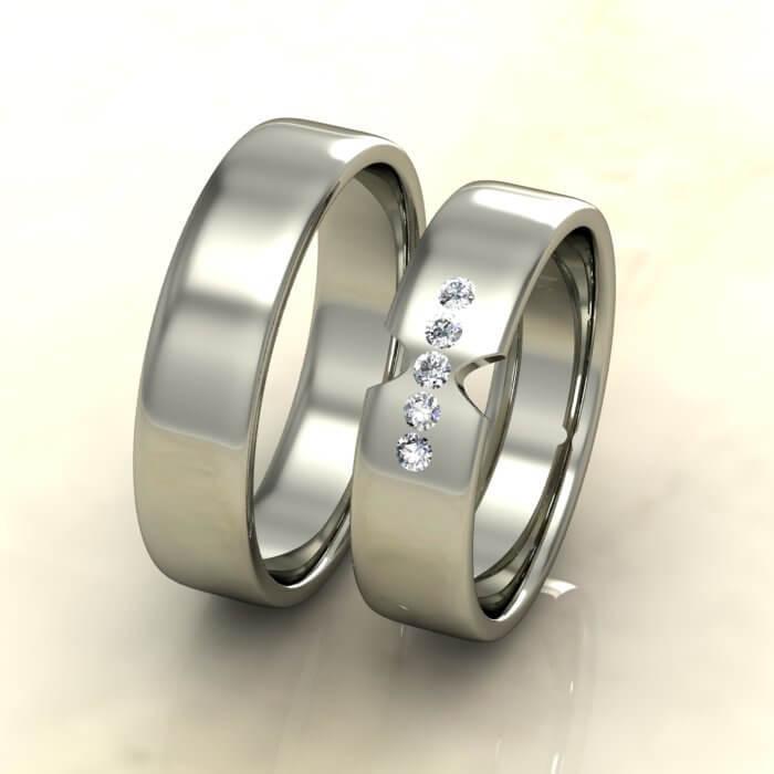 Плоски брачни халки бяло злато с диаманти