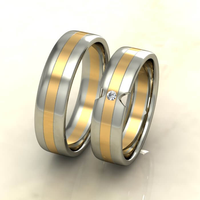 Плоски брачни халки бяло и жълто злато с диамант
