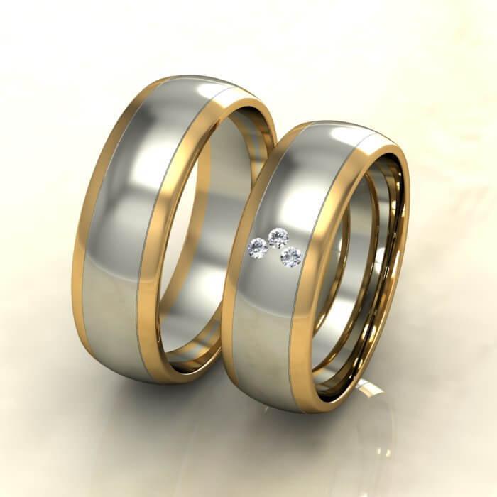 Класически брачни халки бяло и жълто злато с диаманти