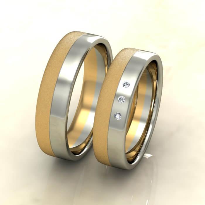 Плоски брачни халки бяло и жълто злато мат с диаманти