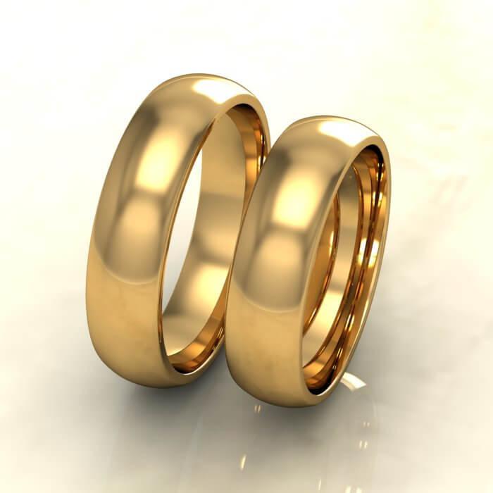 Класически брачни халки жълто злато