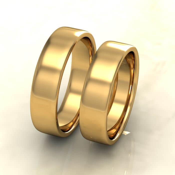 Плоски брачни халки жълто злато