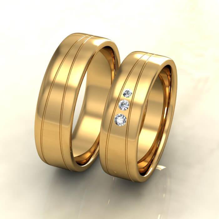 Плоски брачни халки жълто злато с диаманти