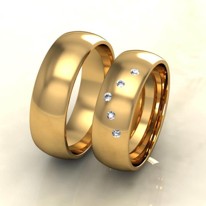 Класически брачни халки жълто злато с диаманти