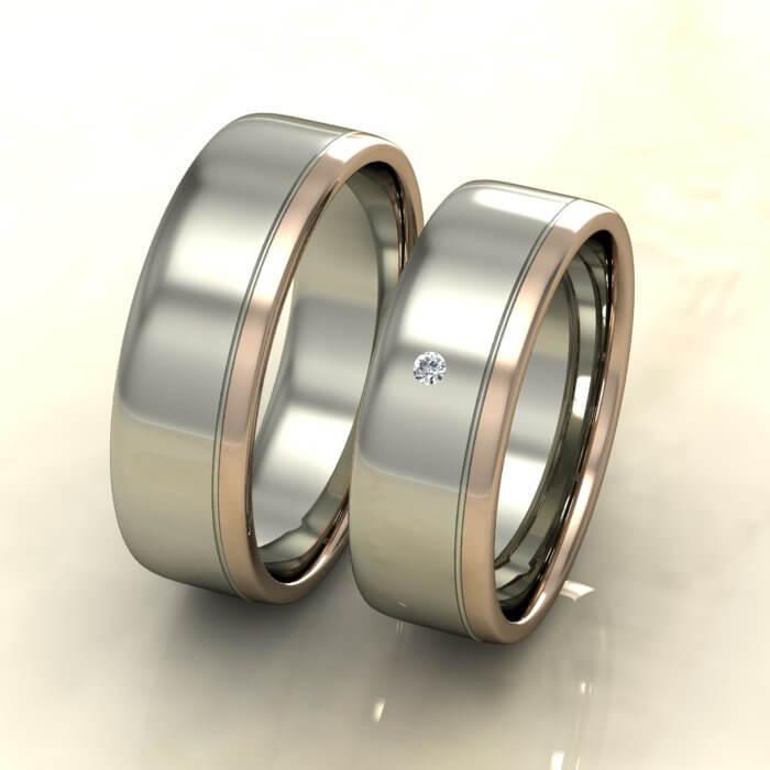 Плоски брачни халки бяло и розово злато с диамант