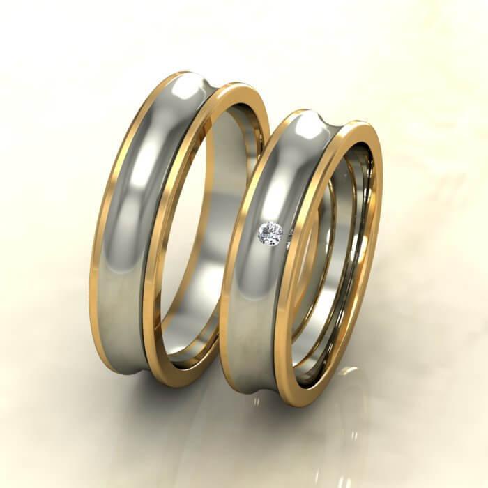 Вдлъбнати брачни халки бяло и жълто злато с диамант