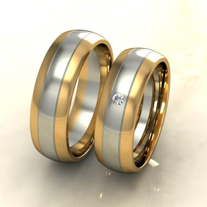 Класически брачни халки бяло и жълто злато с диамант