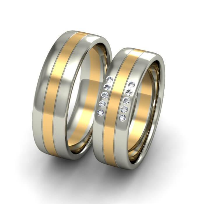 Плоски брачни халки бяло и жълто злато с диаманти