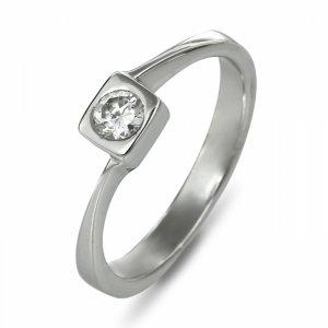"""Годежен пръстен """"КВАДРАТ-цирконии"""" R-1155"""