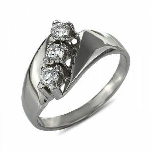 """Годежен пръстен """"ТРОЕН-цирконии"""" R-1041"""
