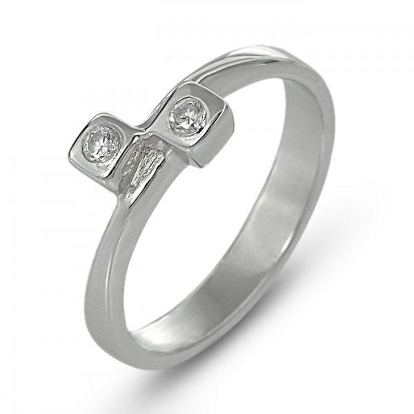 """Годежен пръстен """"ДВОЕН-цирконии"""" R-1134"""