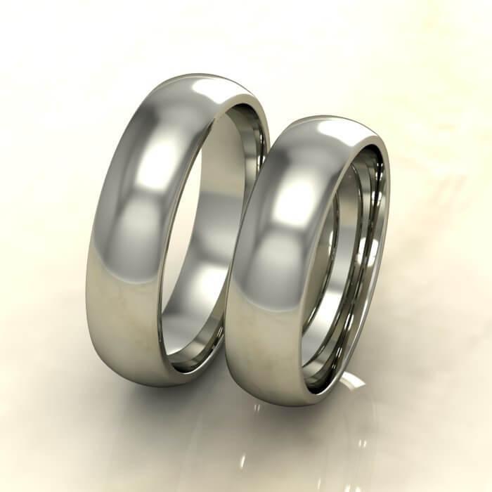 Класически брачни халки бяло злато