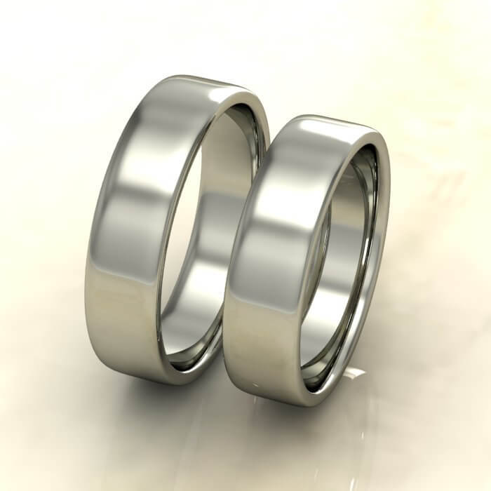 Класически брачни халки плоски бяло злато