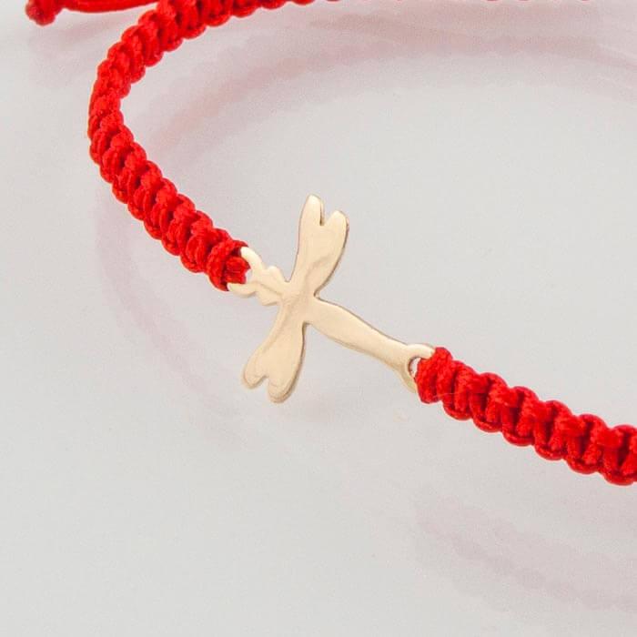 Гривна с червен конец жълто злато водно конче